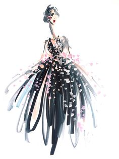 Fashion Illustrations Sponsor // Artist Katie Rodgers Illustrates Beautifully Abstract Styles for the World's Largest Fashion Brands - Illustrated with Winsor Illustration Mode, Fashion Illustration Sketches, Fashion Design Sketches, Paper Fashion, Fashion Art, Fashion Brands, Girl Fashion, Watercolor Fashion, Fashion Painting