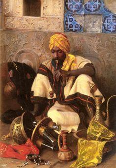 """The Arab Smoker"", 1889, Jean Discart (1850-1920)."