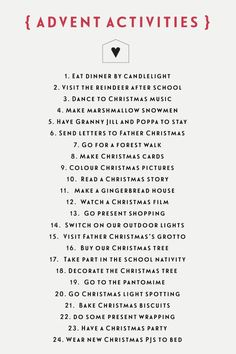 24 Christmas kids activities for a no-chocolate advent calendar kids Christmas Countdown, Family Christmas, Winter Christmas, Christmas Holidays, Christmas Gifts, Christmas Decorations, Christmas Calendar, Christmas Tables, Christmas Cactus
