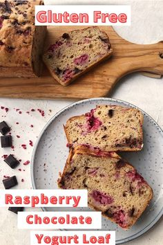 Quick and easy 6 ingredient gluten free raspberry chocolate yogurt loaf. Healthier than your average cake with no butter or oil needed..This yogurt loaf is also dairy free and lower in sugar. Dont worry though it's still a super yummy and moist cake.