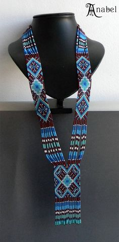 Ethnic beaded necklace  beadwoven long necklace by Anabel27shop