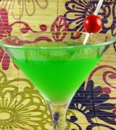 Grinch - Soothes that grouchy holiday spirit!    2 ounces Midori  1/2 ounce lemon juice  1 teaspoon simple syrup  Combine the ingredients in a shaker with ice. Shake well and strain into a chilled martini glass. Garnish with a maraschino cherry.