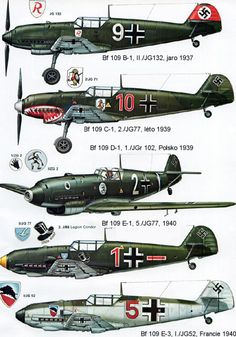 1935-1945 Messerschmitt Bf 109. Luftwaffe, HAF, ANP, RRAF - Fighter. Engine…