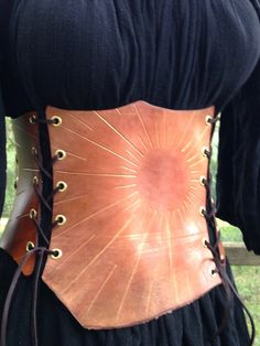 Gold Sunburst Leather Corset by CowCarvers on Etsy