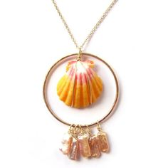 Sunrise Shell Necklace, Rare, Hawaii Beach Jewelry, Gold, Orange, Pink, Hawaiian Shell Jewelry