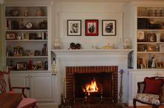 Home Design, Beautiful Brick Fireplace Mantle Exposed With Nice Artwork Pictures And Charming White Wooden Built In Shelves With Storage Int...