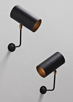 SERGE MOUILLE Pair of 'Tube' wall lamps, Painted aluminium, brass, painted steel. Each: x 20 x 31 cm.) Manufactured by Atelier Serge Mouille, France Industrial Lighting, Interior Lighting, Home Lighting, Modern Lighting, Lighting Design, Artwork Lighting, Lighting Stores, Lighting Ideas, Light Fittings