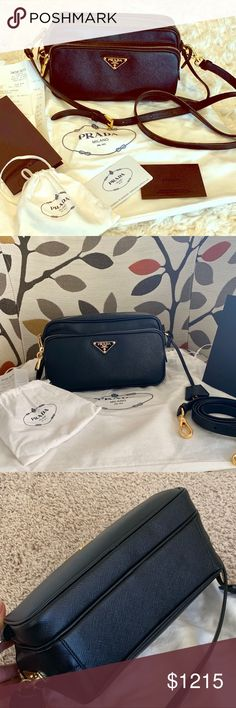 0224409401d5 ✨Like NEW Prada Camera Crossbody Handbag✨ Amazing signature black leather  and gold hardware in beyond excellent condition!! Maybe slight texture  reduction ...