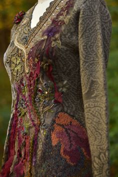 Embroidered beaded boho refashioned Autumn Dress by amberstudios