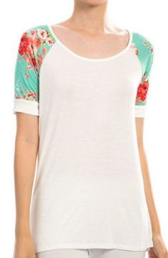 Floral Sleeve Raglan Top from Chloe's Boutique.  In-stock now at www.shopchloes.com