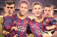 messi neymar with their cute babies bale and ronaldo