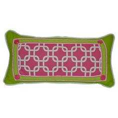 """Add a preppy pop of style to your sofa, bed, or favorite arm chair with this plush pillow, showcasing a vibrant palette and on-trend design.    Product: PillowConstruction Material: Cotton and polyesterColor: Green and pinkFeatures:  PipingInsert includedDimensions: 12"""" x 24""""Cleaning and Care: Dry clean onlyShipping: This item ships small parcelExpected Arrival Date: Between 04/12/2013 and 04/20/2013Return Policy: This item is final sale and cannot be returned"""