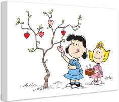 Lucy Hanging Hearts Peanuts by Charles M. Shultz Graphic Art on Canvas