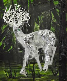 § Kim Dorland   Ghost (Deer), 2010   Oil, glitter, and string on wood panel  72 x 60 inches