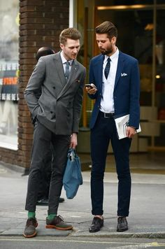 DB Grey sport jacket, rolled up trousers, suede buck shoes, Blue sport jacket, skinny jeans, white dress shirt with skinny tie