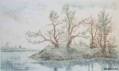 Gross Arnold - Patakparti fák / Trees on the brook coast Budapest, Coast, Trees, Graphic Design, Artist, Painting, Outdoor, Outdoors, Tree Structure