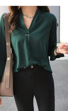 women chiffon blouse shirt long sleeve women shirts fashion tops and blouses - women chiffon blouse shirt long sleeve women shirts fashion tops and b – TopFashionova Source by - Casual Work Outfits, Mode Outfits, Work Attire, Classy Outfits For Women, Green Outfits For Women, Cute Office Outfits, Jean Outfits, Chic Outfits, Outfit Work