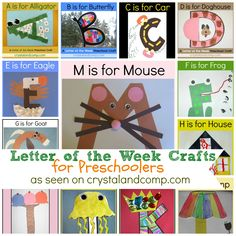 Letter of the Week Crafts: CrystalandComp.com - Full curriculum and crafts for each letter of the alphabet can be accessed through the links on the page. Children will find they are learning while having fun. Many educational units for each letter are also included, as well as suggested books.