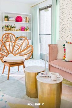 22 Chic and Clean Modern Living Room Design Ideas | Beloved blogger Joy Cho of Oh Joy! shares how to create a colorful and welcoming living room as shown here. Balance out colors with lighter tones and make sure to include enough white space or earthy accents like Cho does with the bookshelf here. #realsimple #livingroomdecor #livingroomideas #details #homedecorinspo