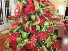 """Deco Mesh Decorated Christmas Trees 