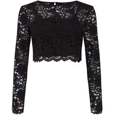 Miss Selfridge Black Lace Top (£28) ❤ liked on Polyvore featuring tops, shirts, crop top, black, long sleeve lace shirt, scalloped shirt, long-sleeve shirt, long sleeve tops and scalloped lace top