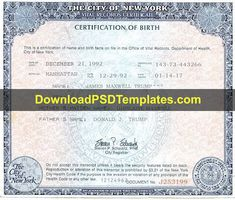 Birth Certificate Template, Vital Records, Editing Skills, Psd Templates, Nyc, Names, New York, New York City