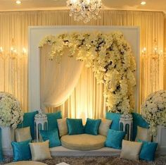 61 Ideas wedding backdrop indian stage decorations for 2019 Blue Wedding Centerpieces, Wedding Stage Decorations, Wedding Themes, Flower Decorations, Wedding Designs, Wedding Colors, Wedding Ideas, Wedding Flowers, Table Decorations