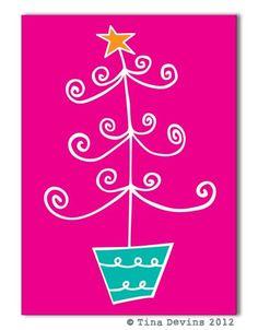 Swirly Christmas Tree Christmas Card Bright by DreamingOnAStar, €2.50