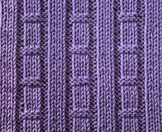 Tracks & Hurdles ... STITCHES: knit, purl, edge stitch ... PATTERN: 8 rows ... STITCH NUMBER: multiple of 10 + 11 + 2 edge stitches ... DIFFICULTY: easy