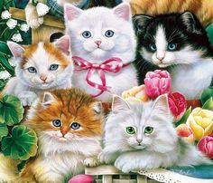 Cat Colors, Vintage Cat, Cat Tattoo, Cat Art, Cats And Kittens, Digital Art, Drawings, Artist, Cute