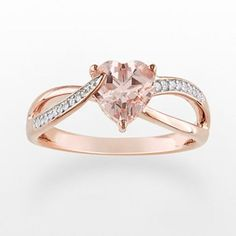 10k Rose Gold Morganite and Diamond Accent Heart Ring