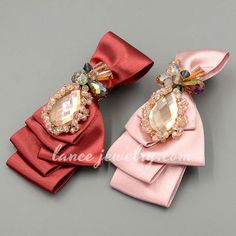Classical beads & bowknot decorated  fabric hair clip