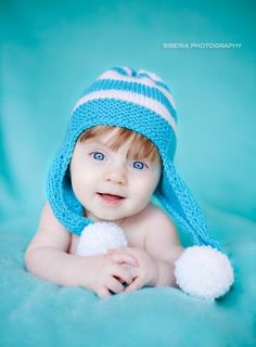 5ef8c74aea2 Items similar to Baby blue knit hat months on Etsy