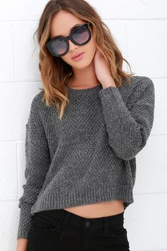 Start planning your getaway, because the Obey Bianca Grey Cropped Sweater is wanted for being dangerously cute