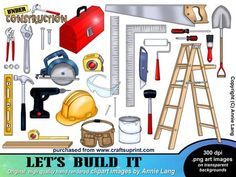 """Let s Build It Clipart on Craftsuprint designed by Annie Lang - Hand rendered Construction themed clipart motifs by Annie Lang. Cutout images in 300dpi .png format can be mixed, matched and easily resized to suit your projects. Sizes range from 2.5""""-12""""Collection includes 29 cutouts with hammer, nails,wrenches,wordart, ladder, paint,roller,brush,nuts,bolts,mallet,lumber,goggles,hat,knife,level,measuring tools, saws,shovel, toolbelt and toolbox  - Now available for download!"""