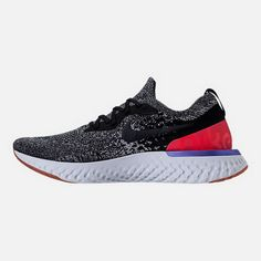 d1a6606570c4c Left view of Men s Nike Epic React Flyknit Running Shoes in Black White Red  Orbit