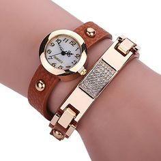 Pretty Women Rhinestones Charm Wrist Watch Twine Wrap Leather Belt with Diamond and Rivet Bracelet Watch Brown *** You can find more watch details by visiting the image link.