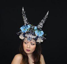 Blueberry Fantasy Headpiece Horns Headdress with by ElvenDesignArt