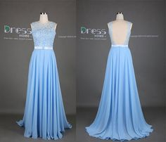 Sweet Blue Round Neck Lace Appliques Belt A Line Long Prom Dress/Chiffon Flowy Prom Dress/Formal Bridesmaid Dress/Juniors Dresses For Colors: You