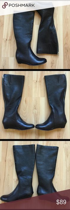 Fergalicious Low Wedge Boots New never worn. Size 5.5. Full zipper on back of boot. 16in tall. 14in circumference at top of Boots. Fergalicious Shoes Wedges