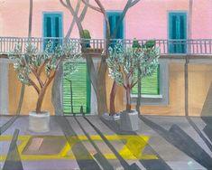 Shadow Painting, Original Paintings, Original Art, Italian Street, Winter Painting, Pink Houses, Olive Tree, Lake Como, Art Day
