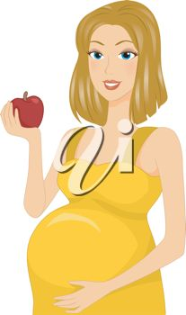 iCLIPART - Illustration of a Pregnant Girl Holding an Apple