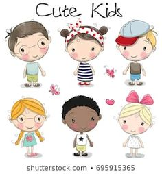 Illustration about Set of Cute cartoon girls and boys on a white background. Illustration of drawn, glasses, happy - 97961188 Cute Cartoon Boy, Cartoon Cartoon, Cartoon Drawings, Easy Drawings, Boy And Girl Cartoon, Cartoon Characters, Cartoon Girl Drawing, Cute Kids Pics, Cute Kids Crafts