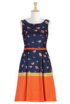 Retro style colorblock dress
