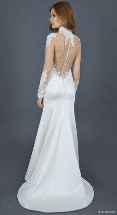 atelier eme 2016 bridal raffy illusion long sleeve mermaid wedding dress duchesse satin alencon lace illusion back view train