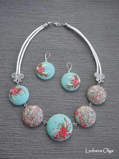 Poly clay flower jewelery