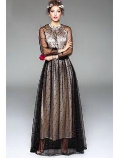 Elegant Black Beading Raglan See Through Sleeve Stand Collar Party Dress