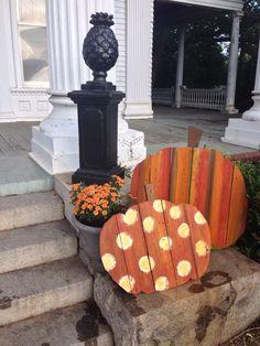 Barn wood pumpkins, fall porch