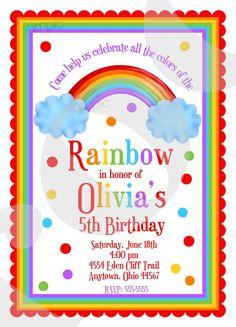 Rainbow birthday party invitations Birthday by LittlebeaneBoutique, $1.59