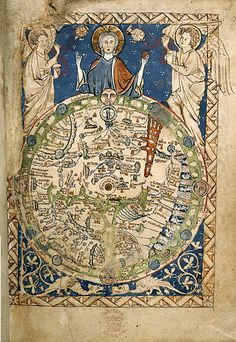Geocentricite (terre-centre-univers)-Psalter World Map (mappa mundi), 1265 / This is one of the 'great' medieval world maps - La boite verte Medieval World, Medieval Art, Renaissance Art, Vintage Maps, Antique Maps, British Library, World Map Art, Map Globe, Framed Maps